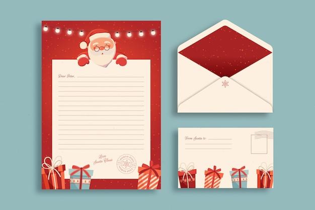 Flache weihnachtsbriefpapierschablone
