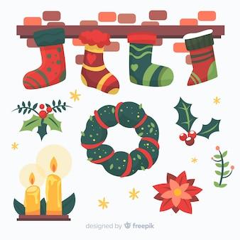 Flache weihnachtsdekoration design