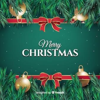 Flache weihnachtsdekoration in grüntönen mit globen