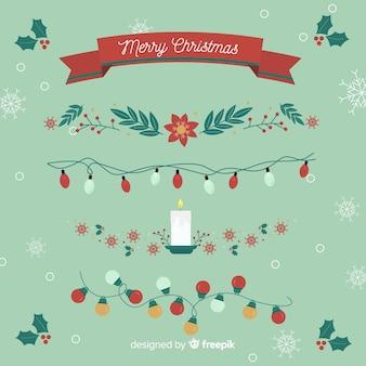 Flache weihnachtsdekoration mit bändern und girlanden