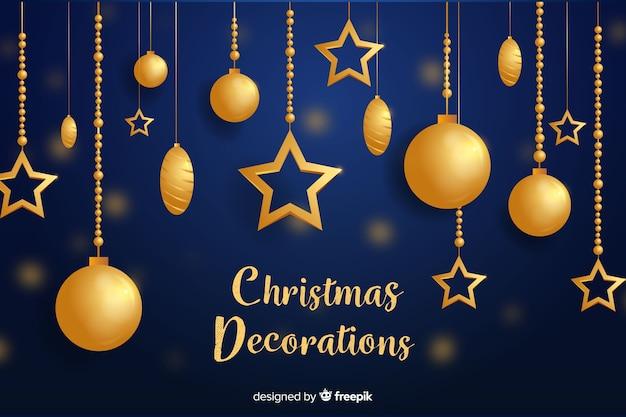Flache weihnachtsdekoration mit goldenen hängenden weihnachtsbällen