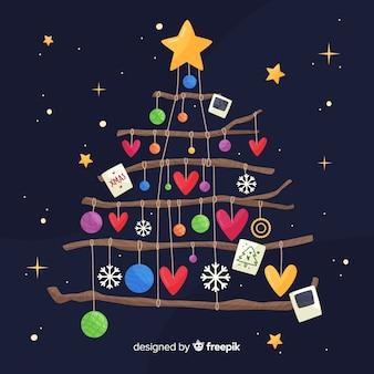 Flache weihnachtsdekoration