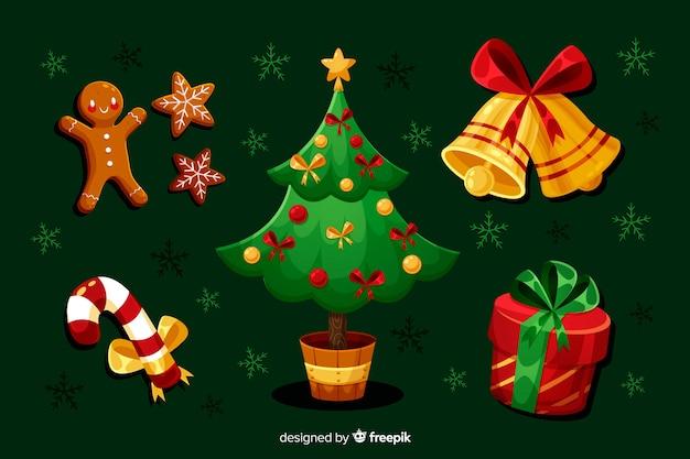 Flache weihnachtselementsammlung mit baum