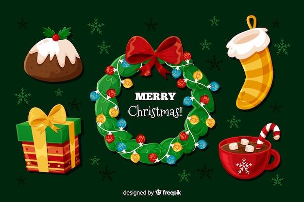 Flache weihnachtselementsammlung mit kranz