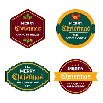 Flache weihnachtsetikettenkollektion