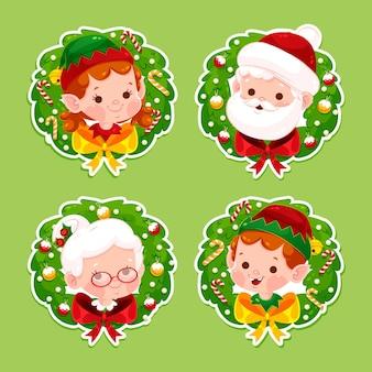 Flache weihnachtsetikettensammlung mit charakteren