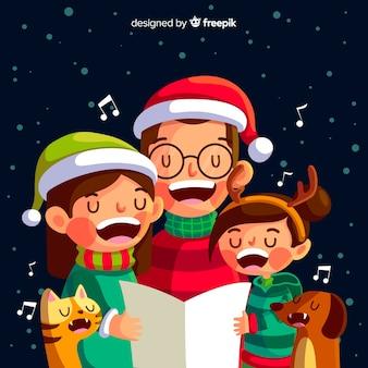 Flache weihnachtsfamilienszene