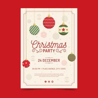 Flache weihnachtsfeier flyer vorlage