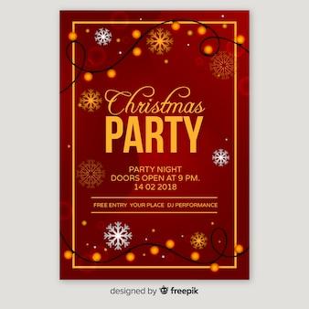 Flache weihnachtsfeier plakat vorlage