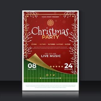 Flache weihnachtsfeierplakatschablone