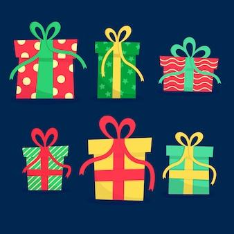 Flache weihnachtsgeschenksammlung