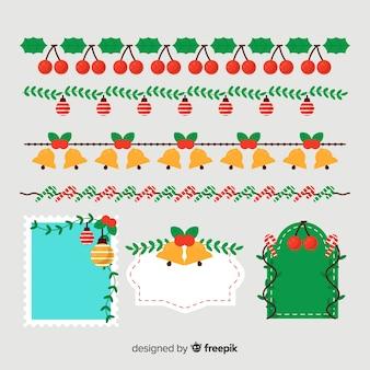 Flache weihnachtsgrenzen und rahmenpackung