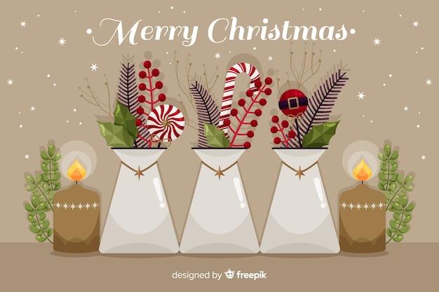 Flache weihnachtshintergrundfeier