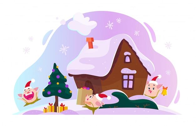 Flache weihnachtsillustration mit winterkomposition. tannenbaum mit geschenkboxen, ingwerhaus, schneebedeckten hügeln, lustiger süßer kleiner schweineelf in der weihnachtsmütze. cartoon-stil.