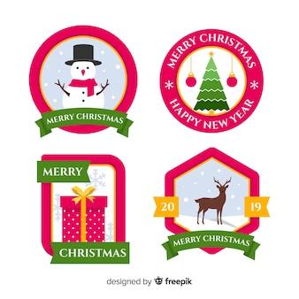 Flache weihnachtskollektion label
