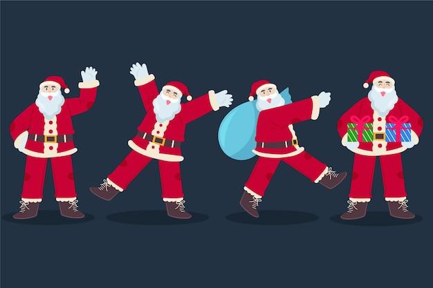 Flache weihnachtsmann-charaktersammlung