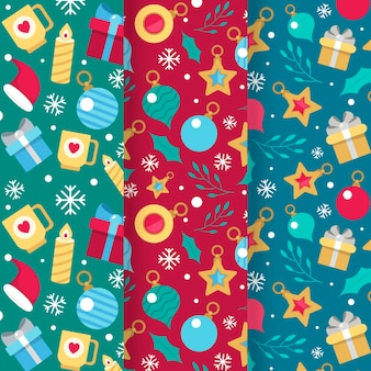 Flache weihnachtsmustersammlung