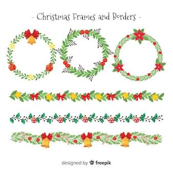 Flache weihnachtsrahmen und bordüren
