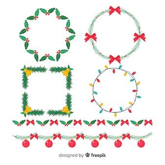 Flache weihnachtsrahmen und grenzen