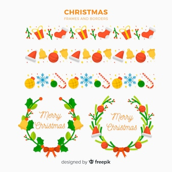 Flache weihnachtsrahmen und randsammlung
