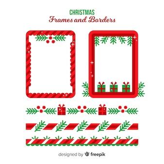Flache weihnachtsschmuck-kollektion