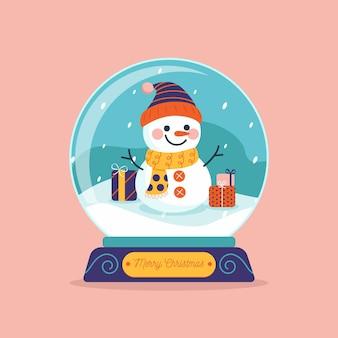 Flache weihnachtsschneeballkugel mit schneemann