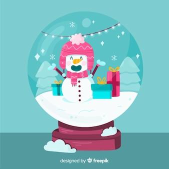 Flache weihnachtsschneeballkugel