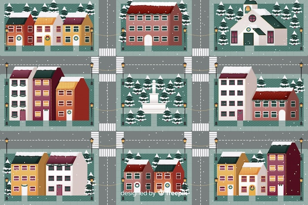 Flache weihnachtsstadt mit häusern und straßen