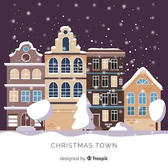 Flache weihnachtsstadt