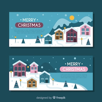 Flache weihnachtsstadtfahnen