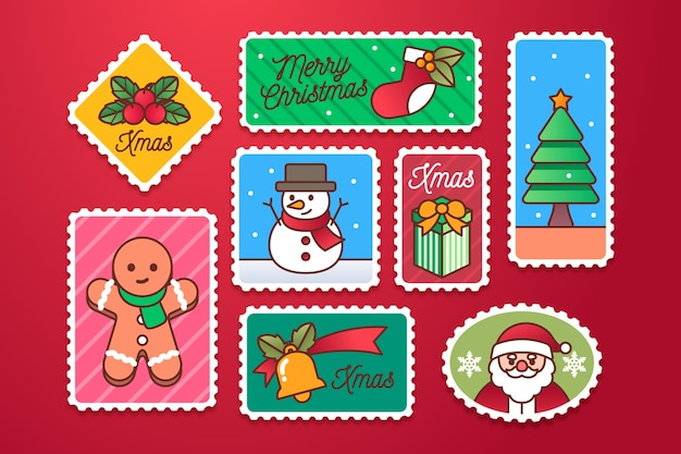 Flache weihnachtsstempelsammlung