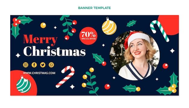 Flache weihnachtsverkaufsfahne