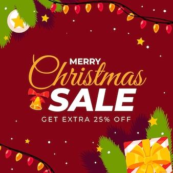 Flache weihnachtsverkaufsvorlage