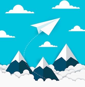 Flache weiße papierfliege auf dem himmel zwischen wolke und berg