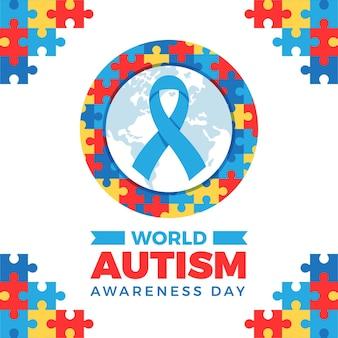 Flache welt autismus bewusstsein tag illustration mit puzzleteilen