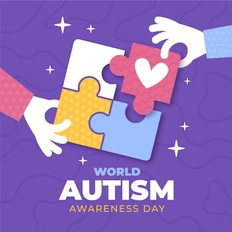 Flache welt autismus bewusstsein tag illustration
