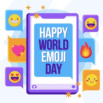 Flache welt emoji tag illustration