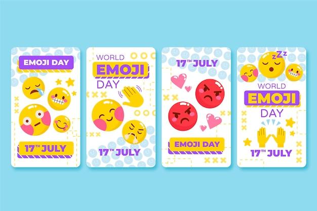 Flache welt emoji tag instagram geschichte sammlung