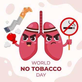 Flache welt kein tabak tag illustration