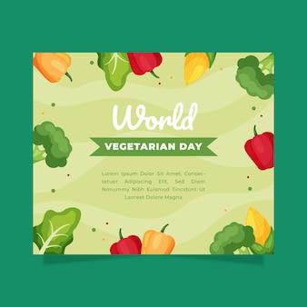 Flache welt vegetarischer tag social media beitragsvorlage
