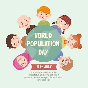 Flache weltbevölkerungstag illustration