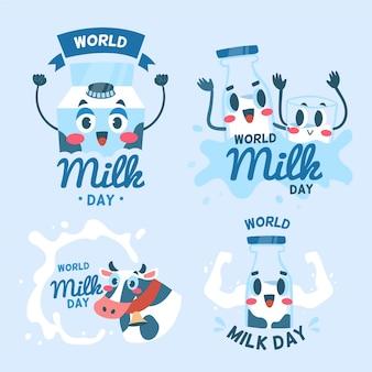 Flache weltmilch-tagesabzeichen-sammlung Kostenlosen Vektoren