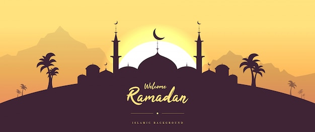 Flache willkommen ramadan grußkarte