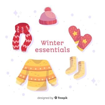 Flache winterkleidung und essentials