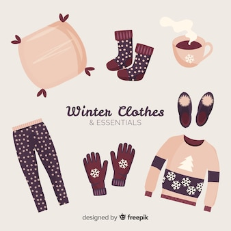 Flache winterkleidung und essentials