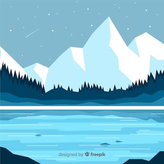 Flache winterlandschaft hintergrund