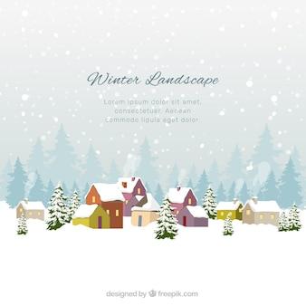 Flache winterlandschaft mit bunten häusern