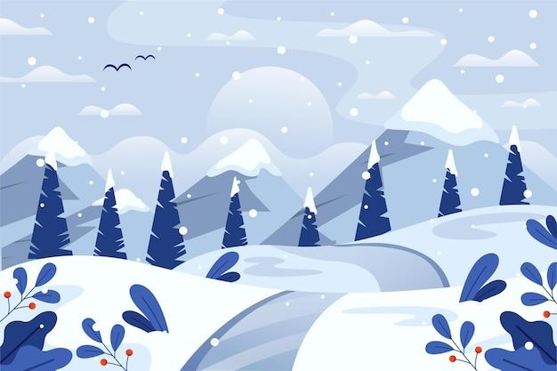 Flache winterlandschaft mit wald