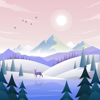 Flache winterlandschaft