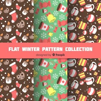 Flache wintermuster-kollektion